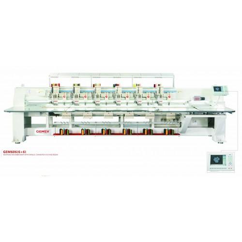 Masina de brodat cu 6 capete superioare (aplicat paiete) si 6 capete inferioare GEM606(6+6)